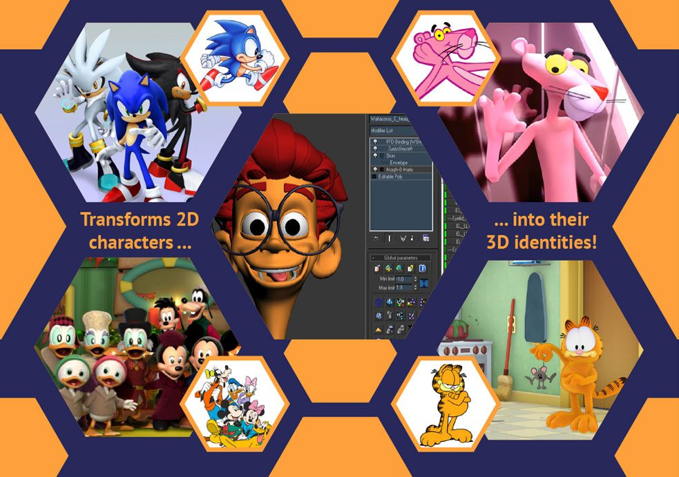 Tranforms 2D characters into their 3D identities!